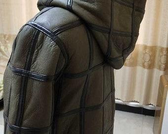 Mens Sheepskin hooded Jacket, Mens Real Fur Coat, Real Leather.