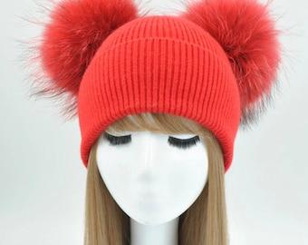 6f8a24a9c90 Cashmere   Raccoon Fur Pom Pom Hat
