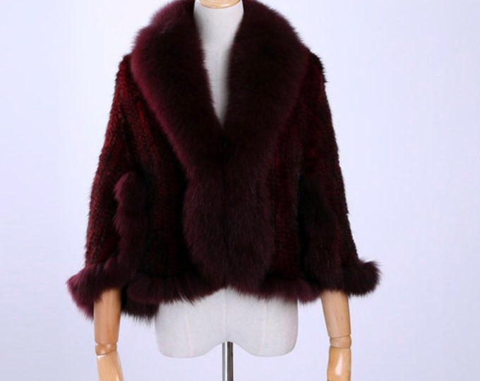 Knitted Mink Fur Shawl with Fox Fur Collar, Mink Wedding Shawl.