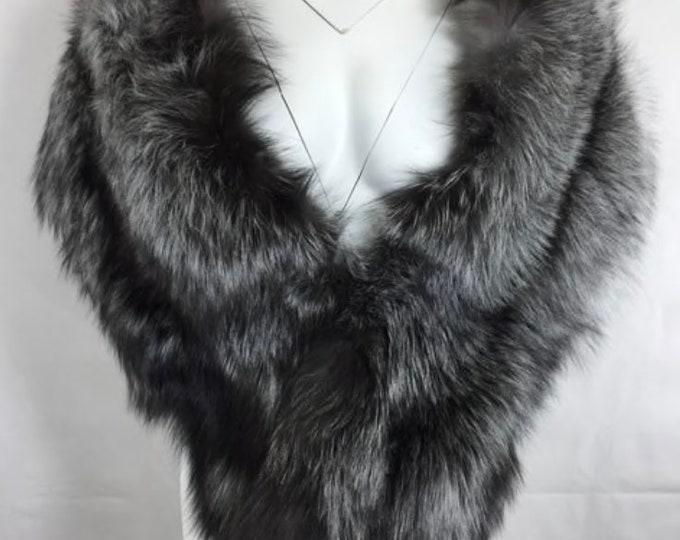 Luxury Fox Fur Wedding Shawl, Real Fur Cape.