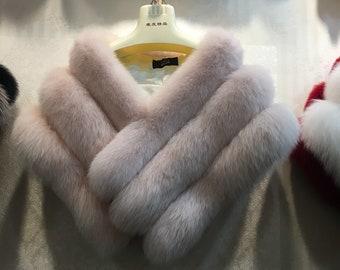 White Silver Fox Fur Wedding Shawl