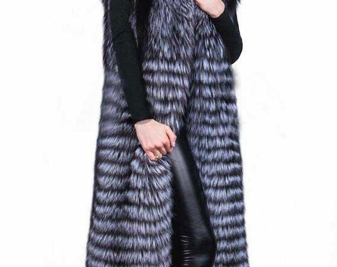 Fox Fur Coat, Long Real Fur Vest, Real Fur Coat.