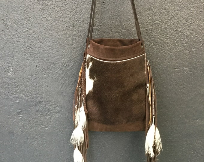 Leather Fringe and Feather Bag