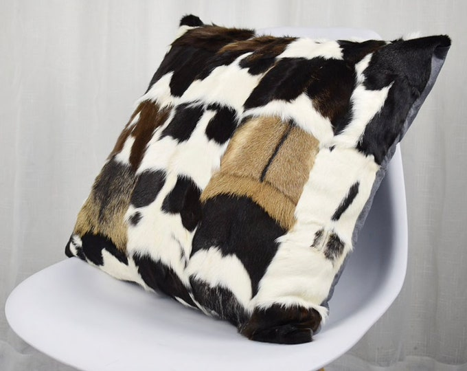 Goat Skin / Fur Cushion Covers. Genuine Fur Patchwork Cushion Covers.