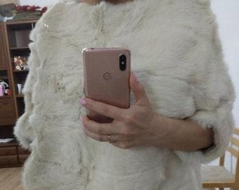Rabbit Fur Top, Real Fur Coat.