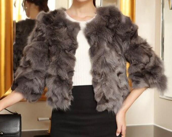 Fox Fur Jacket with 3/4 Sleeve, Real Fur, Fur Coat.