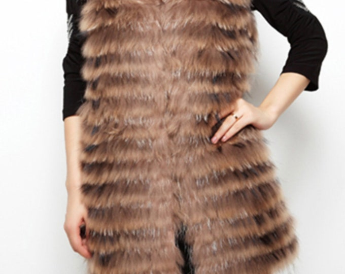 Fur Vest, Raccoon Fur Vest, Real Fur Vest
