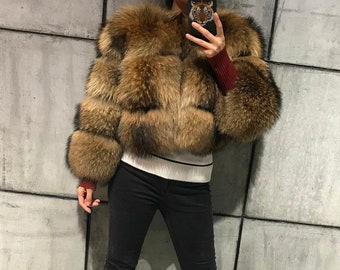 Raccoon Fur Coat, Real Fur Jacket.