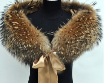 Raccoon Fur Wrap, Genuine Fur Shawl, Real Fur.