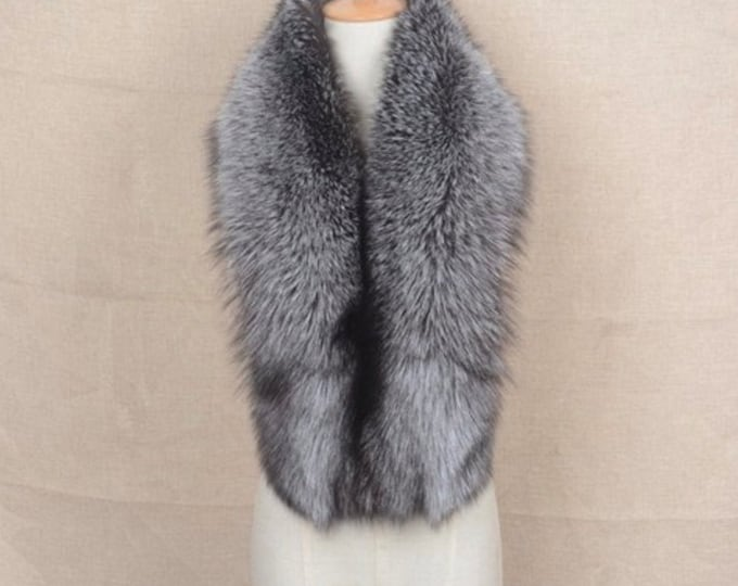 Genuine Fox Fur Scarf/Silver Fox Fur Collar