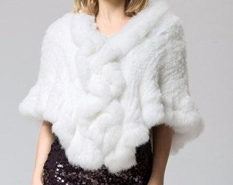 Genuine Rabbit Fur Wedding Shawl / Cape