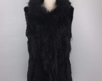 Rabbit Fur Vest with a Hood (Discounted)