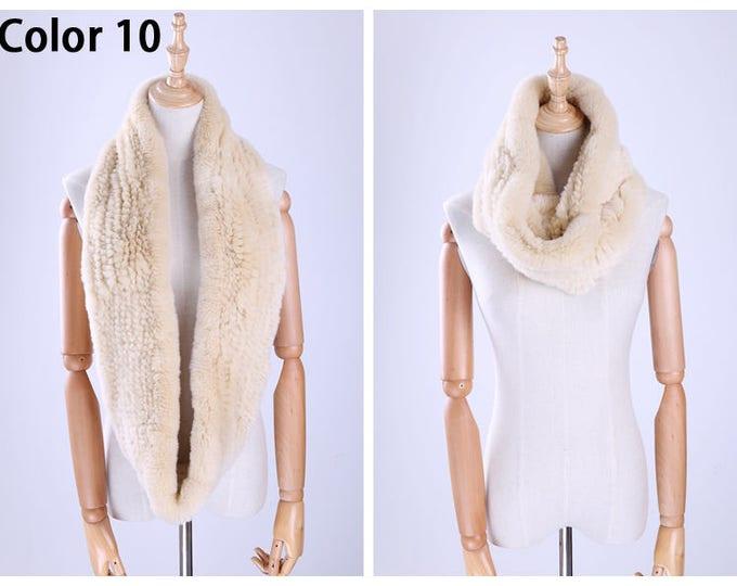 Genuine Rabbit Fur Infinity Scarves/Wrap