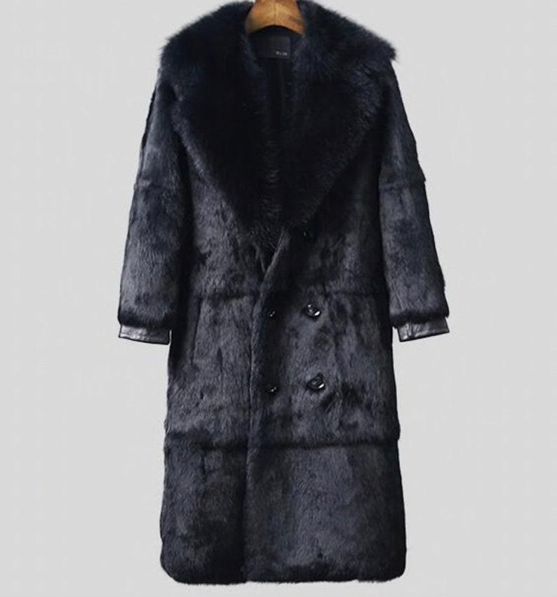 b04c749f014b6 Mens Real Fur Coat, Rabbit Fur Jacket with Fox Fur Collar.