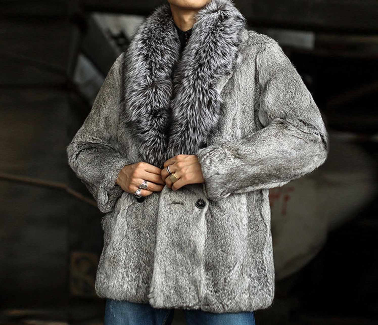 3799fa09e86eb Mens Rabbit and Fox Fur Coat