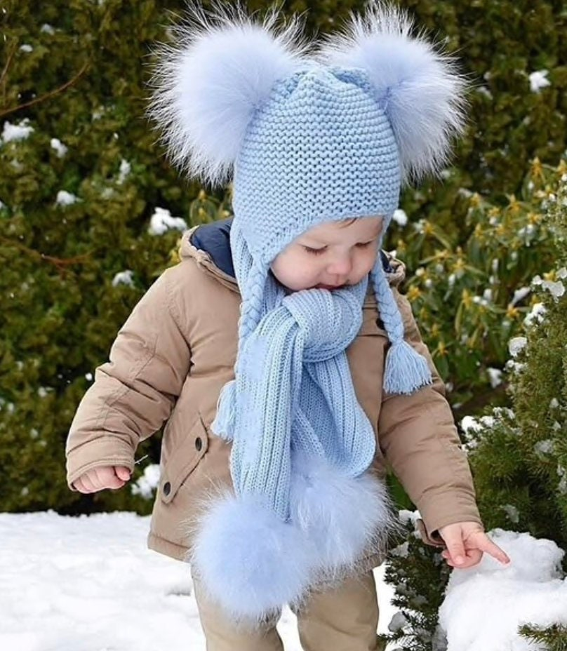 40394881b55 Kids Fur Pom Pom Hat   Scarf Set. 1