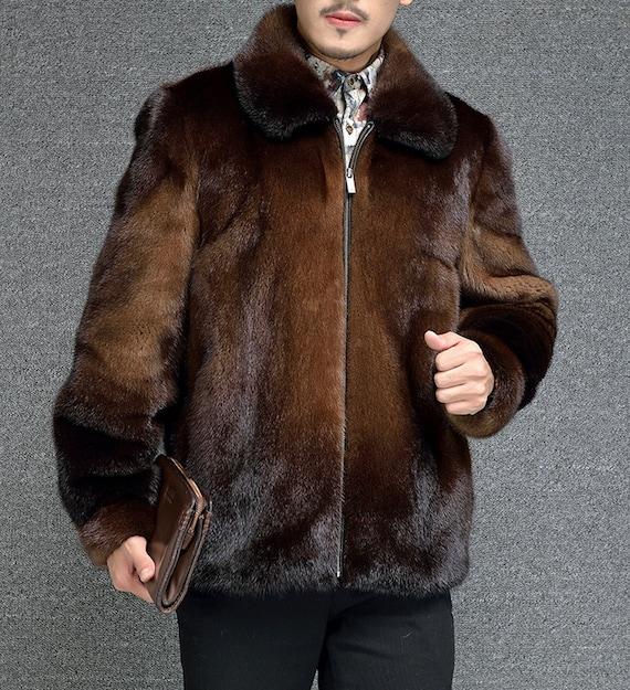 Mens Mink Fur Coat Real Jacket, Real Fur Coats Men