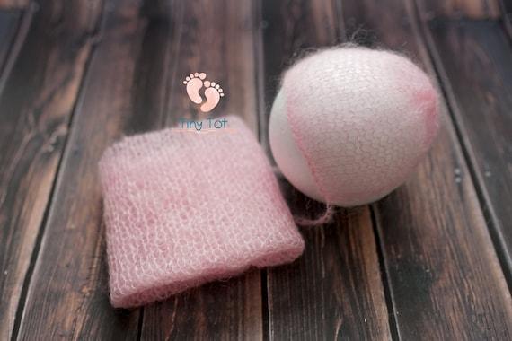 Pink Mohair Bonnet + Wrap