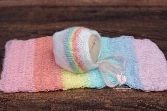 Pastel Rainbow Mohair Wrap & Bonnet Set