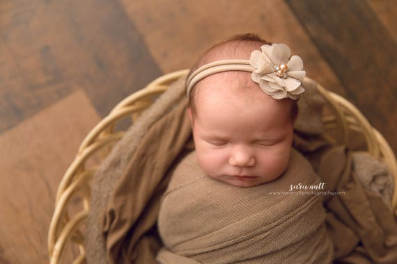 Brown Chiffon Flower Nylon Newborn Headband
