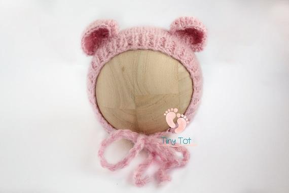 Pink Newborn Bear Bonnet