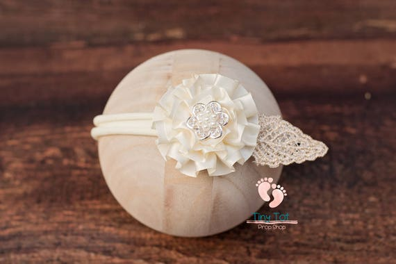 Cream Flower Nylon Newborn Headband