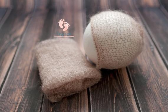 Latte Mohair Bonnet + Wrap