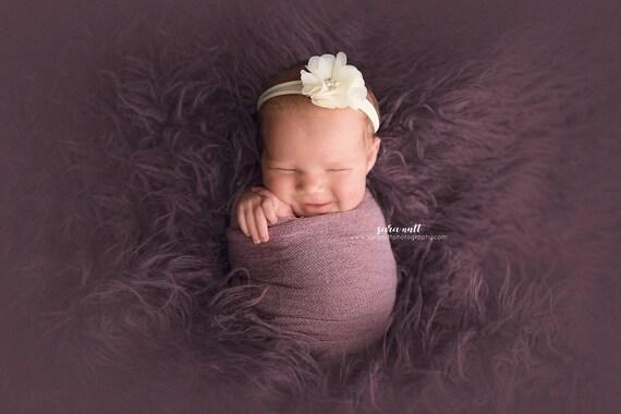 Cream Chiffon Flower Nylon Newborn Headband