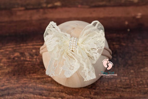 Ivory Lace Flower Nylon Newborn Headband