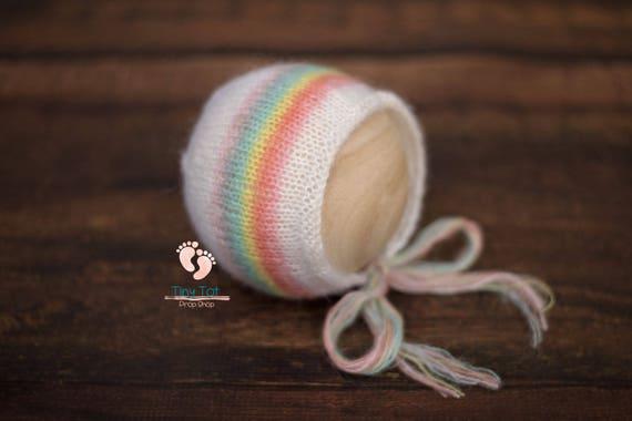 Pastel Rainbow Mohair Bonnet