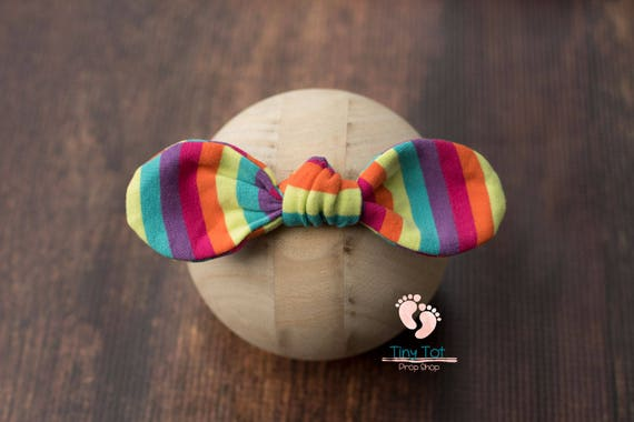 Rainbow Nylon Newborn Headband