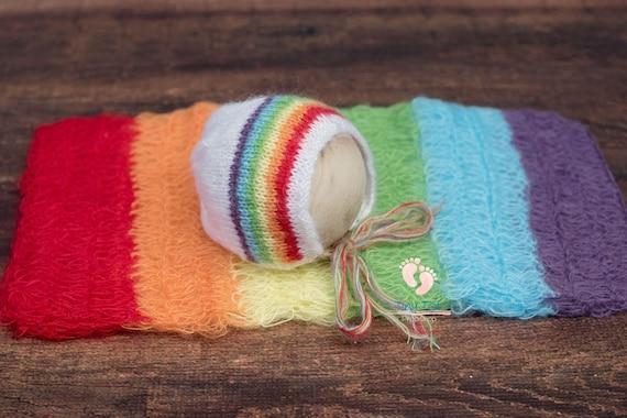 Bright Rainbow Mohair Wrap & Bonnet Set