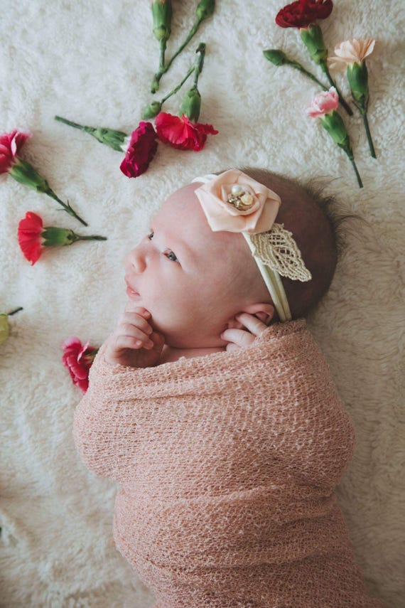 Soft Pink Nylon Newborn Headband