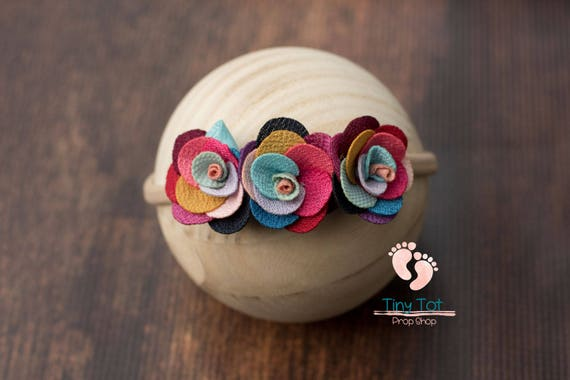 Rainbow Flower Nylon Newborn Headband