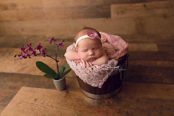 Pink Silk Flower Nylon Newborn Headband