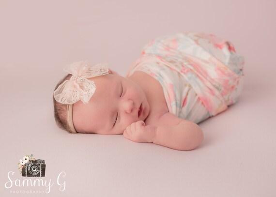 Ivory Lace Flower Nylon Newborn Headband