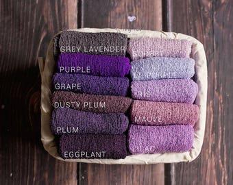 Purple Stretchy Wrap Newborn Photo Prop, Newborn Stretch Knit Wrap