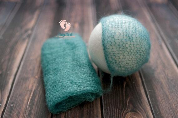 Teal Mohair Bonnet + Wrap