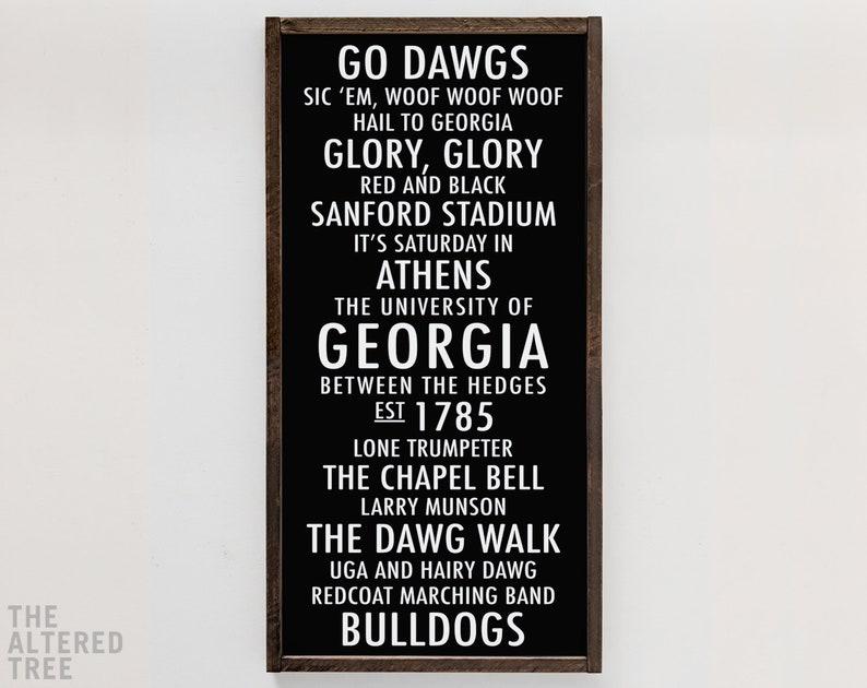 University of Georgia Bulldogs sign  UGA bus scroll subway White on Black