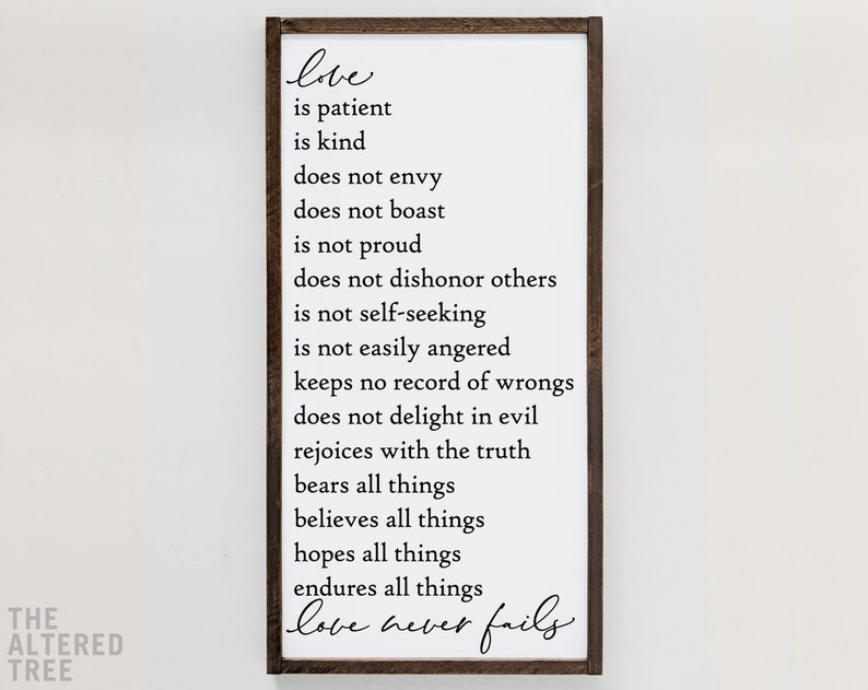 Love is Patient Love is Kind wood sign  love never fails  image 0