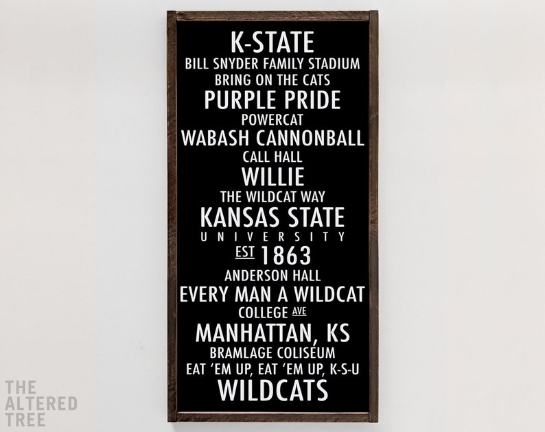 Kansas State University sign  K-State Wildcats decor  KSU White on Black