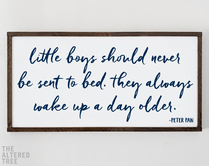 Little Boys Should Never Be Sent To Bed sign  Peter Pan image 0