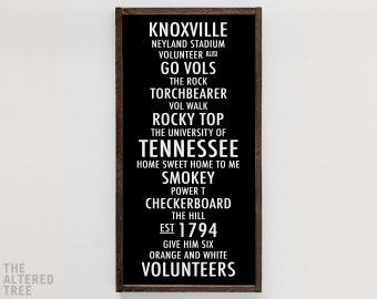 University of Tennessee sign | UT Vols sign Knoxville TN Go Volunteers Smokey Rocky Top Football Man Cave Wall Art Home Decor Gifts Signs