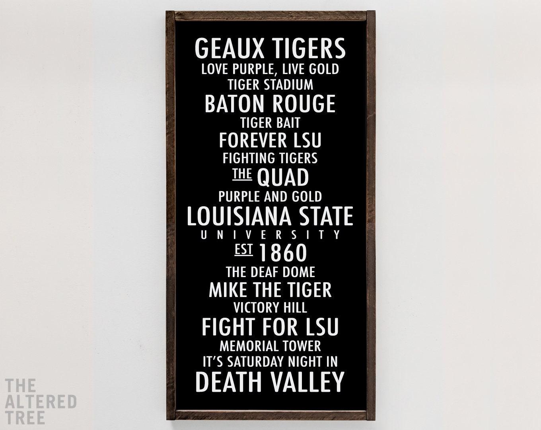 Louisiana State University sign LSU Tigers decor Baton | Etsy