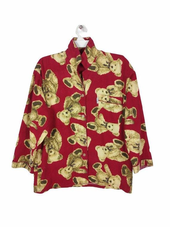 Vintage Teddy Bear Printed Pyjamas Clothing