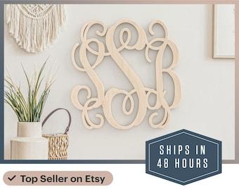 Wooden Monogram - Wall Hanging -Door Hanger - Wedding Monogram - Nursery Monogram - Wooden Initials - Bridal Shower Gift - 3 letter Monogram