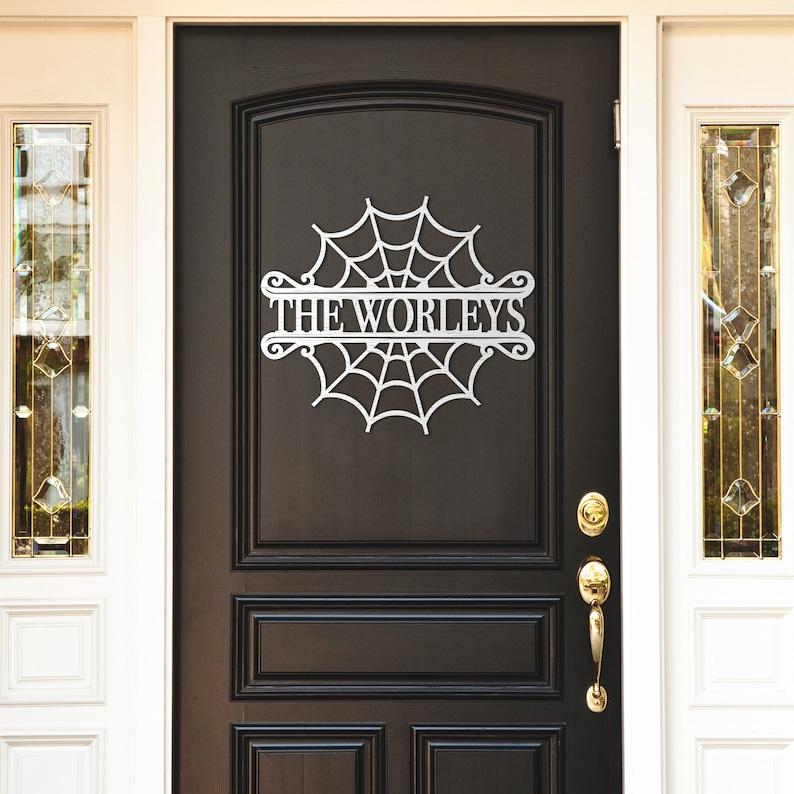 Cobweb Name Sign Wood Door Hanger Personalized Wood Monogram - Outdoor Halloween Decorations