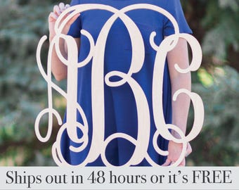 48hour Unpainted Wooden Monogram Wall Hanging - Wall Monogram - Furniture Accessories - Wall Accessories - Monogram Accessories - Home Decor