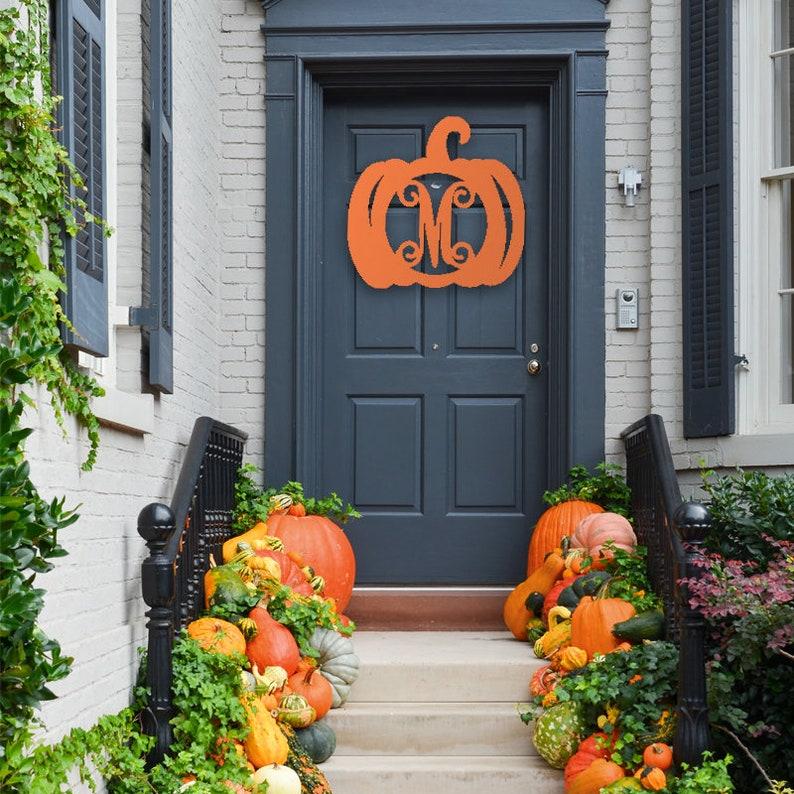 Pumpkin Monogram Wooden Pumpkin Wood Door Hanger Unpainted image 1