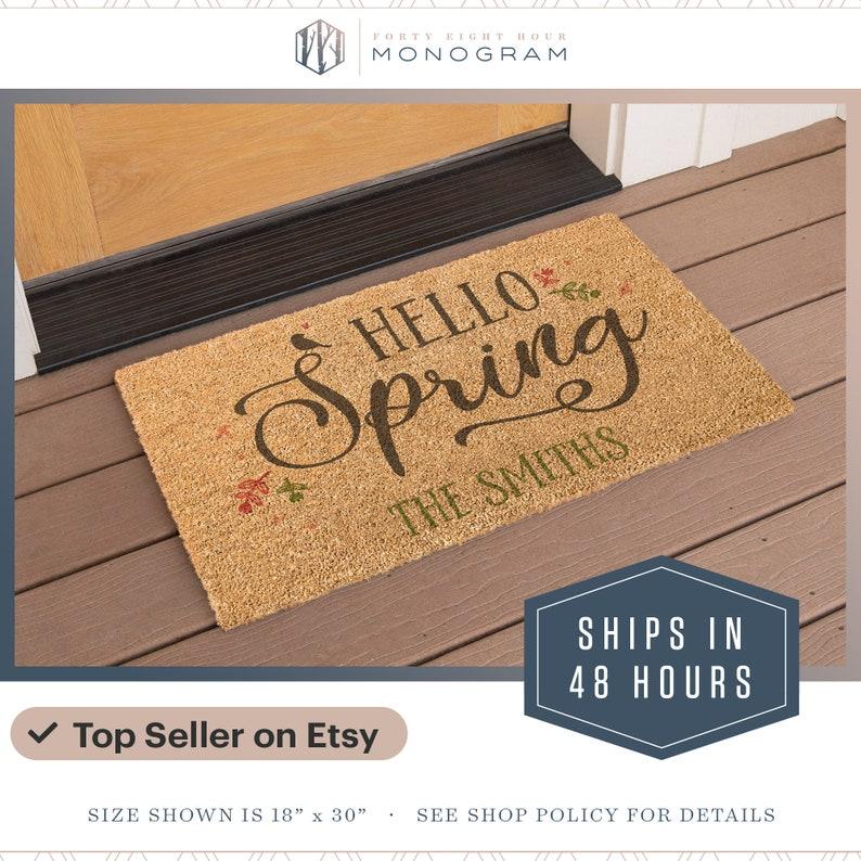 Ships in 48 Hours Easter Decor Welcome Doormat Personalized Doormat Top Seller Front Door Mat Custom Doormat Spring Easter